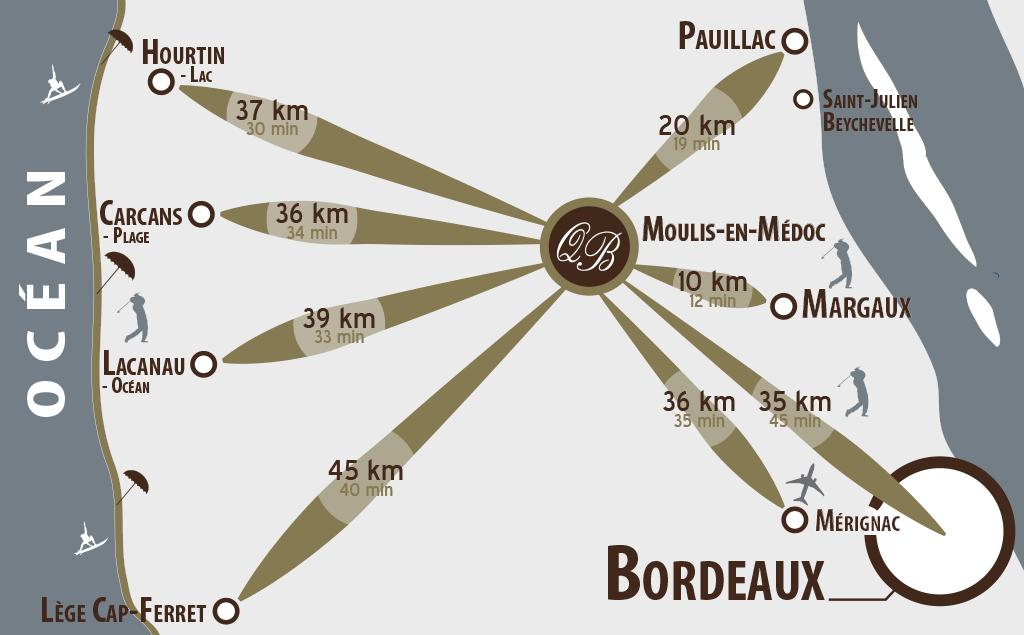 Carte situation et accès au Domaine de Quittignan Brillette